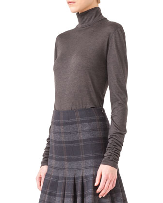 Cashmere-Silk Jersey Turtleneck, Coach Marron