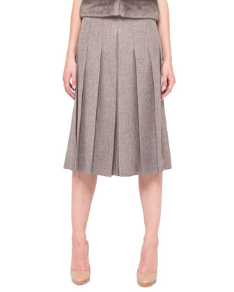 Pleated Slit-Front Long Skirt