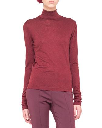 Cashmere-Silk Jersey Turtleneck, Cinnabar