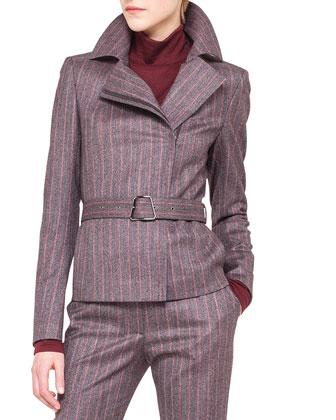 Wool Flannel Pinstripe Moto Jacket