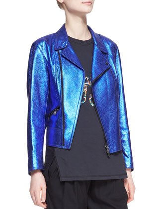 Boxy Metallic Leather Moto Jacket