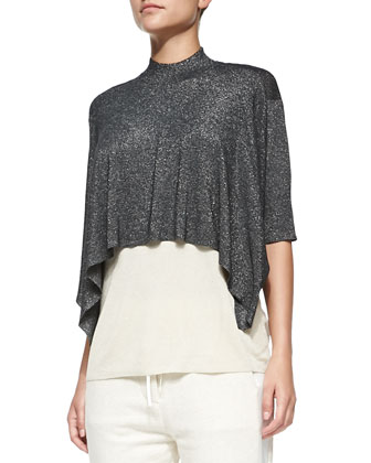 Elbow-Sleeve Layered Shimmery Shirt, Black/Champagne