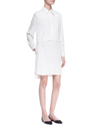Long-Sleeve Double-Layer Shirtdress
