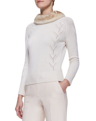 Long-Sleeve Cashmere Sweater with Mink Fur Collar