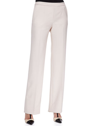 Side-Zip Wide-Leg Pants, Blondwood