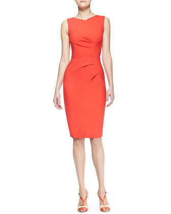 Sleeveless Side-Panel Ruched Sheath Dress