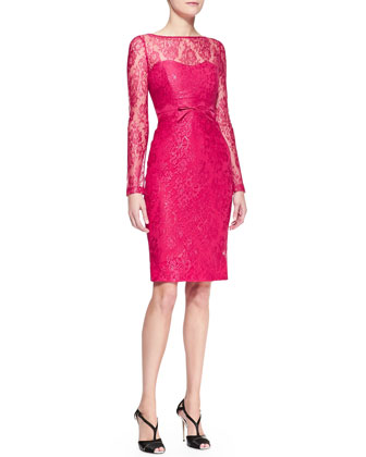 Long-Sleeve Bow-Waist Lace Sheath Dress