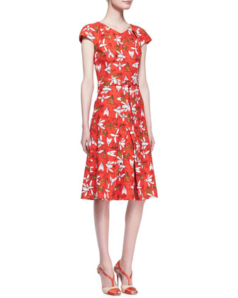 Printed Cap-Sleeve Knot-Waist Dress