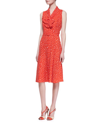 Sleeveless Neck-Tie Dot Silk Dress