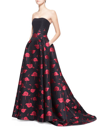 Bee & Floral Jacquard Strapless Ball Gown