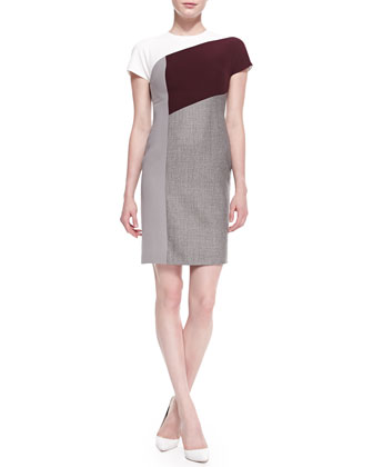 Colorblock Mixed Fabric Sheath Dress, Gray/White/Aubergine