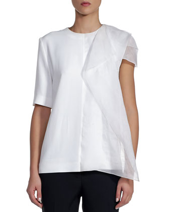 Short-Sleeve Cady Top with Draped Organza, White