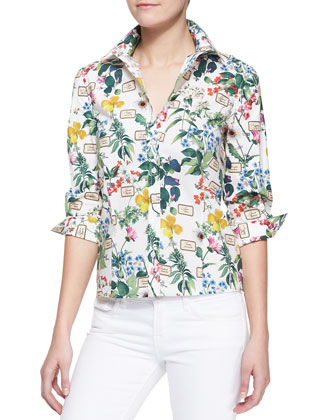 Botanical Printed Button-Down Blouse