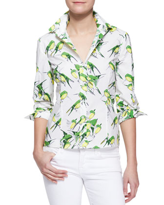 Birds Printed Button-Down Blouse
