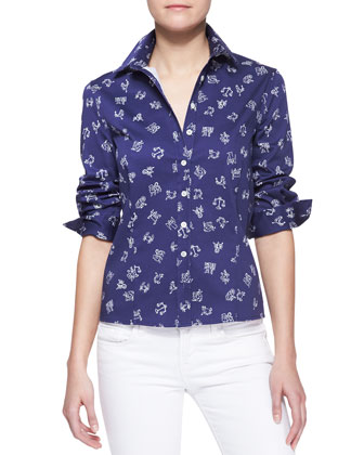 Zodiac Printed Button-Down Blouse