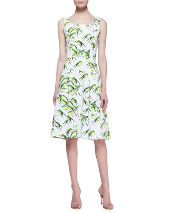 Sleeveless Sparrow-Print A-Line Dress, White/Green/Multi