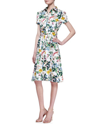 Botanical Short-Sleeve Shirtdress