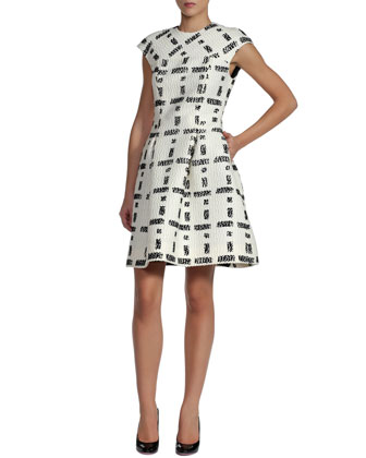Graphic Boucle Bombolina Dress, White/Black