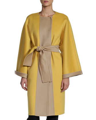 Double-Faced Cashmere Coat, Yellow/Beige