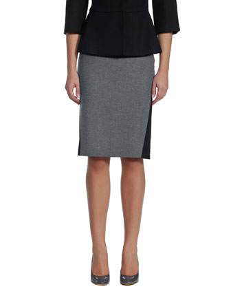 Bicolor Flannel Pencil Skirt, Black/Gray