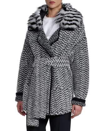 Alpaca Basketweave Coat with Striped Fur Collar, Black/White