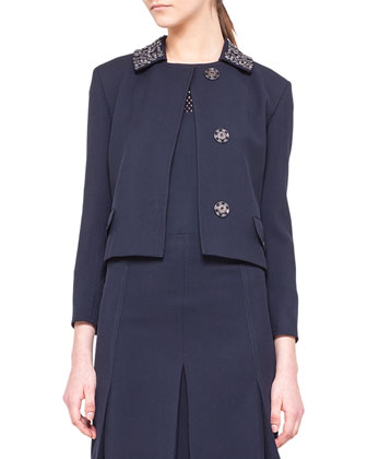 Embellished-Collar Snap Jacket