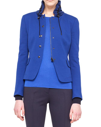 Drawstring-Collar Jersey Jacket
