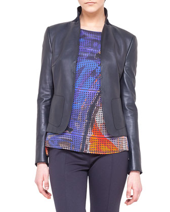 Leather-Front Jersey Jacket