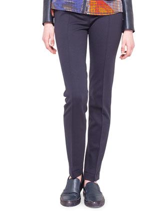 Mara Flat-Front Jersey Pants, Navy