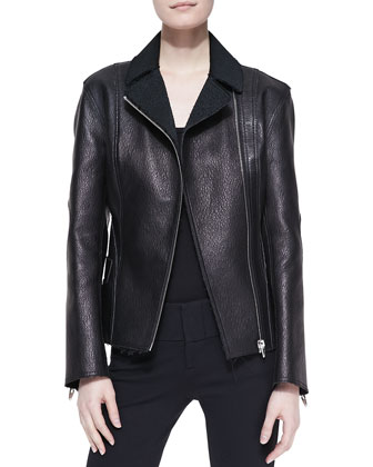 Fitted Leather Biker Jacket, Raven Black