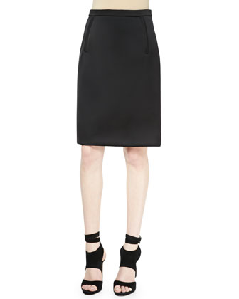 Zip-Pocket Pencil Skirt, Raven Black