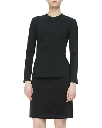 Long-Sleeve Curved-Seam Top