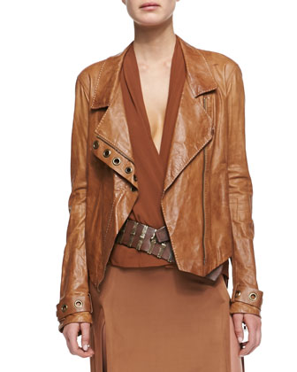 Asymmetric Zip Lambskin Leather Jacket