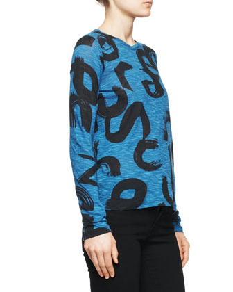 Brushstroke-Print Tissue Jersey Top