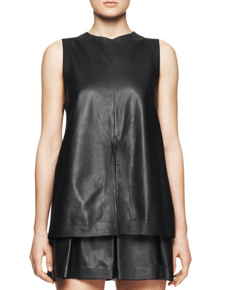 Sleeveless Split-Center Leather Top