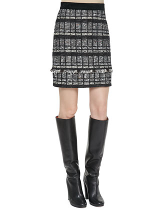 Fringe-Trim Tweed Skirt
