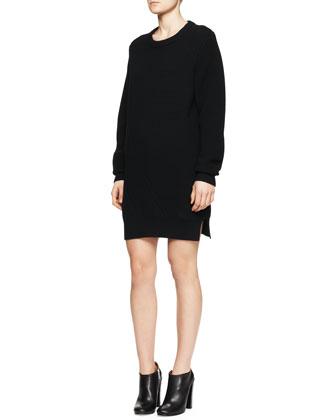 Long-Sleeve Mixed-Knit Sweaterdress