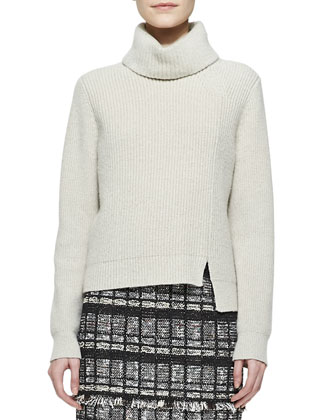 Notched-Hem Turtleneck Sweater