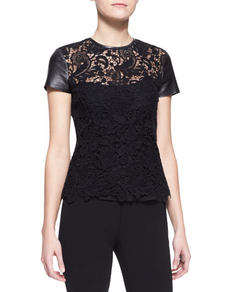 Lana Leather-Sleeve Lace Top