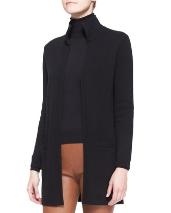High-Neck Long Cashmere Cardigan