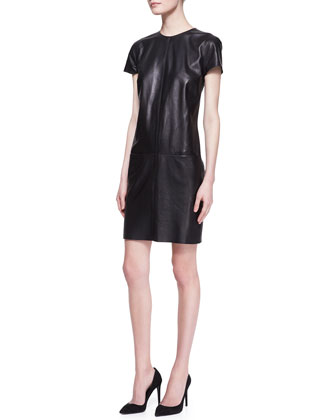 Conroy Short-Sleeve Leather Dress