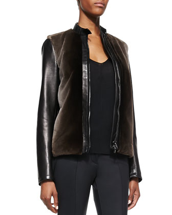 Fur-Front Leather Bomber Jacket