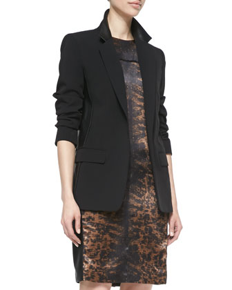 Blazer Jacket with Leather, Black