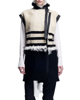 Striped Shearling Long Vest, Cream/Black