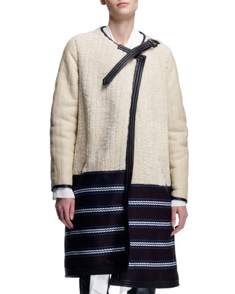 Biker Shearling Coat, Tinted White/Multi