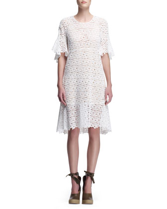 Guipure Lace Dress with Flared Hem, Eggshell White