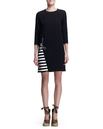 Crepe Dress with Scissors & Stripes, Black