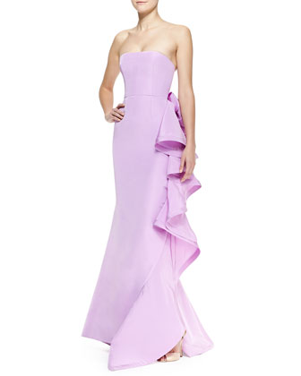 Strapless Ruffle-Back Bow Gown