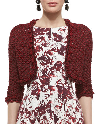 Embroidered Knit Bolero Jacket