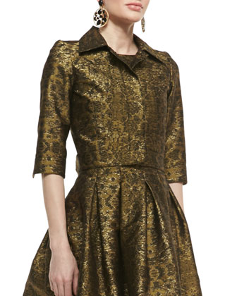 3/4-Sleeve Cropped Brocade Jacket